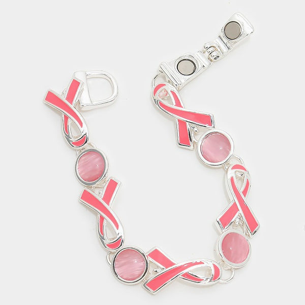 New Pink ribbon enamel magnetic bracelet
