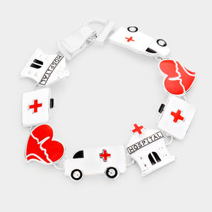 Hospital Red Cross Silver Enamel Bracelet