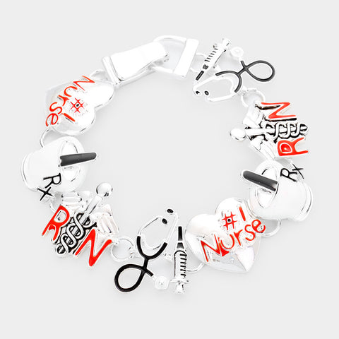 #1 Nurse Medical Silver Enamel Bracelet