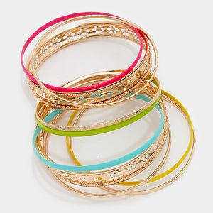 Multi-Layered Metal Bangle Bracelet Set