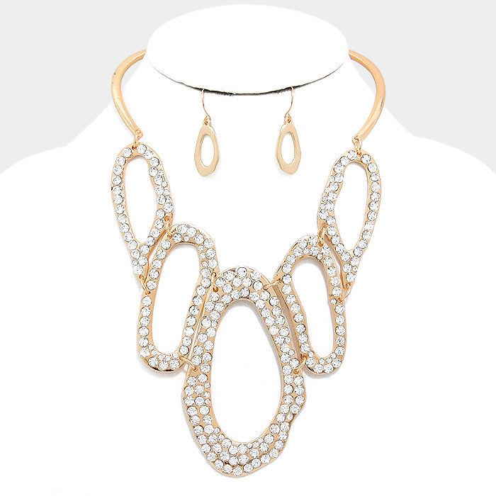 Gold Rhinestone Hoop Necklace Set - Bedazzled By Jeanelle