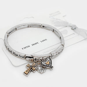 Faith Hope Love Charm Bracelet