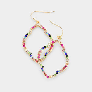 Multi-Color Crystal Rhinestone Pave Quatrefoil Hoop Dangle Earrings