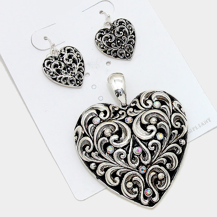 Filigree Heart Rhinestone Pendant Set - Bedazzled By Jeanelle - 1