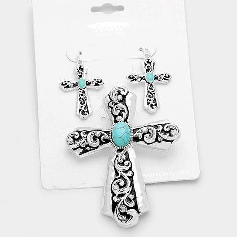 Turquoise Cross Filigree Pendant Set