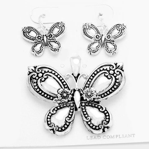 New Silver Butterfly Pendant Set