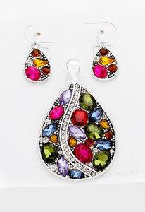 Crystal Rhinestone Teardrop Pendant Set - Bedazzled By Jeanelle - 1