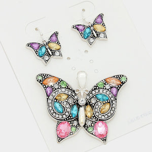 Crystal Rhinestone Butterfly Pendant Set - Bedazzled By Jeanelle - 1