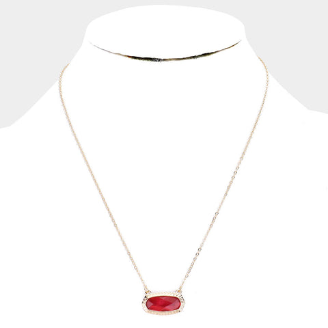 Ruby Red Hexagon Stone Pendant Necklace
