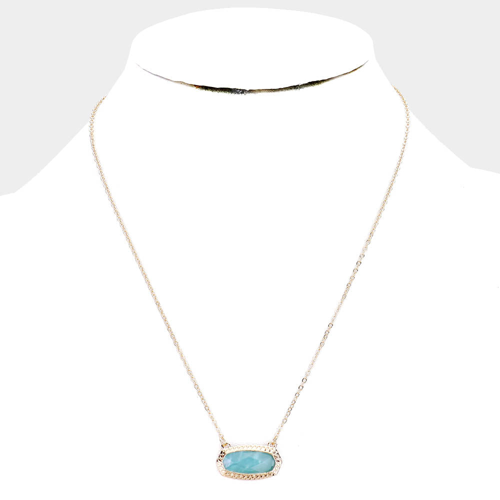 Teal Hexagon Stone Pendant Necklace