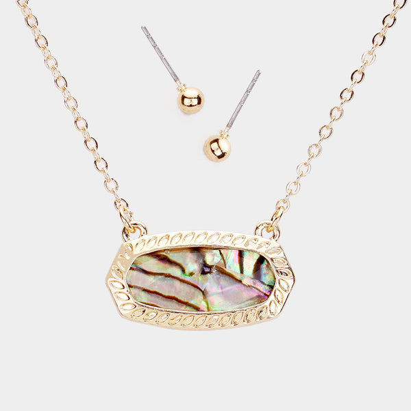 Gold Abalone Hexagon Stone Pendant Necklace