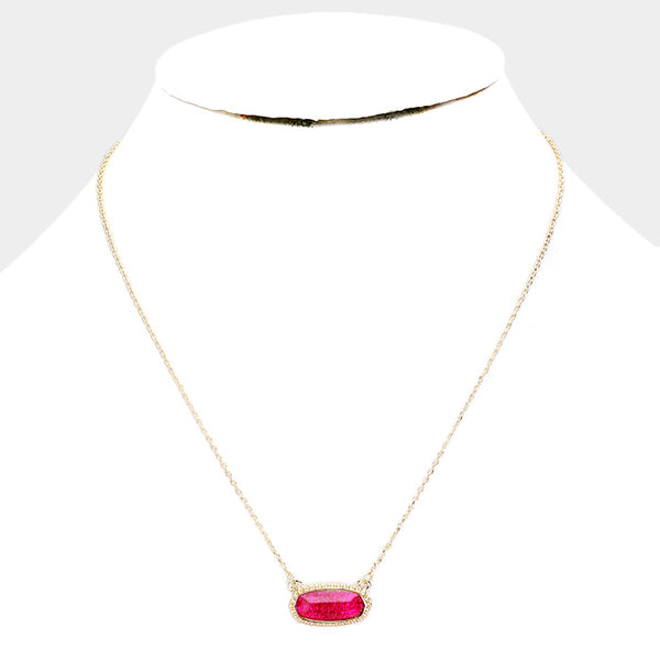Fuchsia Hexagon Glitter Stone Pendant Necklace