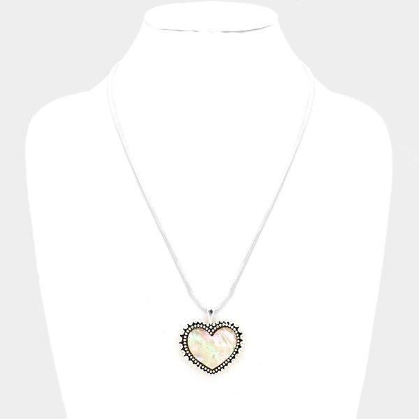 Mother of Pearl Heart Pendant Necklace