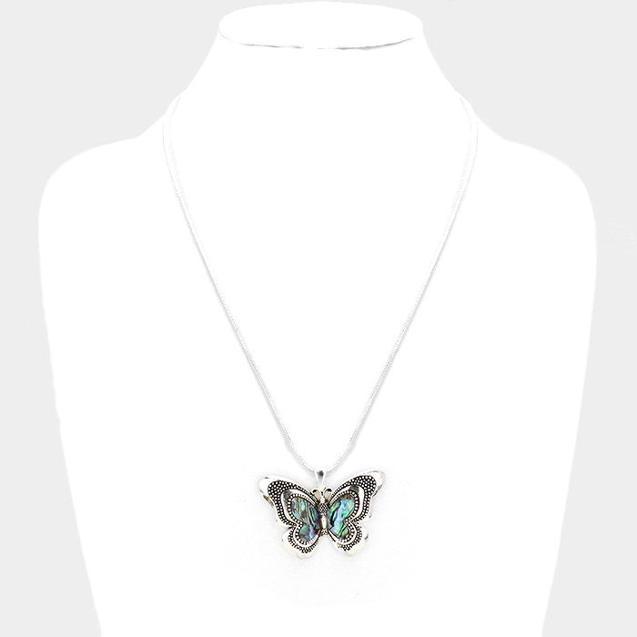 Abalone Butterfly Pendant Necklace
