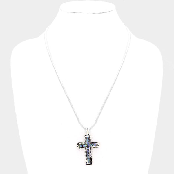 Abalone Cross Pendant Necklace