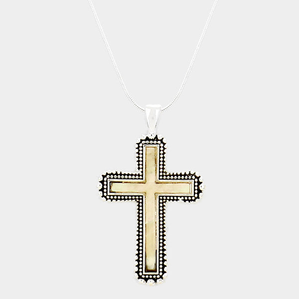 Mother of Pearl Cross Pendant Necklace