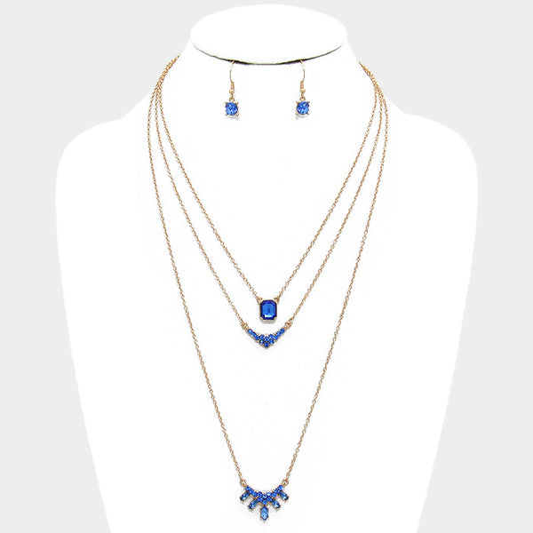 Blue Triple Layer Crystal Pendant Necklace Set - Bedazzled By Jeanelle - 1