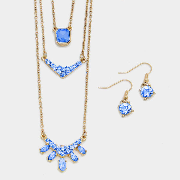 Blue Triple Layer Crystal Pendant Necklace Set - Bedazzled By Jeanelle - 2