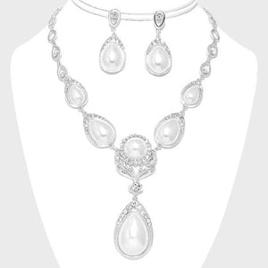 Pearl Teardrop Flower Crystal Evening Statement Necklace Set - Bedazzled By Jeanelle