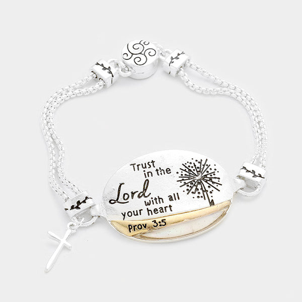 Mother of Pearl Trust in the Lord Oval Bracelet
