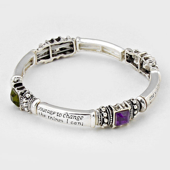 Gemstone Serenity Prayer Bracelet