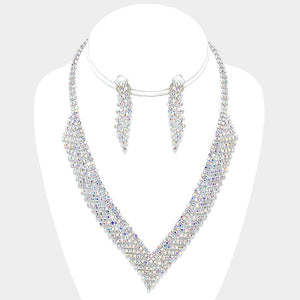 Silver Crystal Rhinestone V-Neck Collar Evening Necklace Set - Bedazzled By Jeanelle