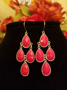 Dazzling Red Teardrop Chandelier Fashion Earrings - Bedazzled By Jeanelle