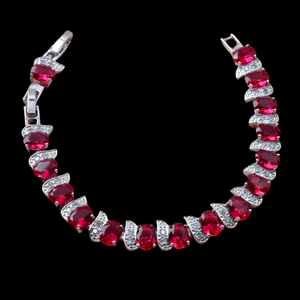 Sterling Silver Ruby Red Oval Cubic Zirconia Bracelet