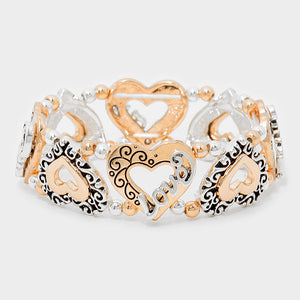 Filigree Rose Gold Silver Heart Bracelet