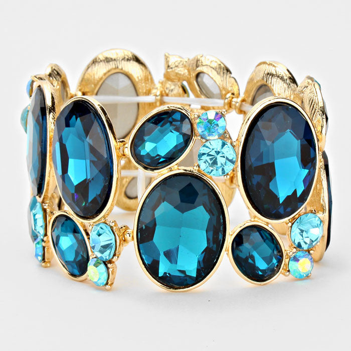 Chunky Indicolite Blue-Light Sapphire Crystal Stretchable Statement Bracelet - Bedazzled By Jeanelle