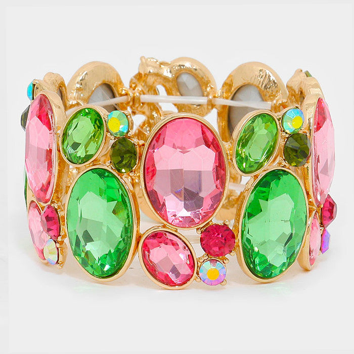 Chunky Rose-Peridot Crystal Stretchable Statement Bracelet - Bedazzled By Jeanelle