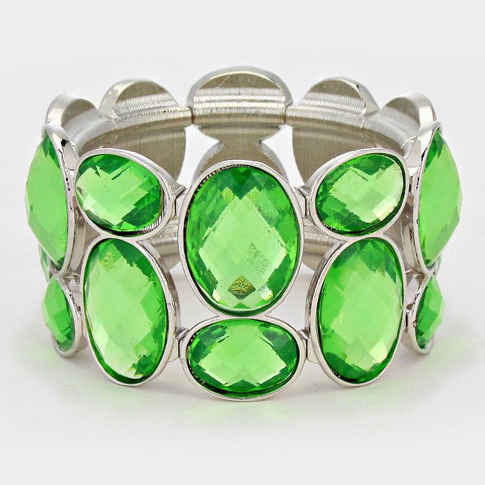 Chunky Peridot Green Crystal Stretchable Statement Bracelet - Bedazzled By Jeanelle