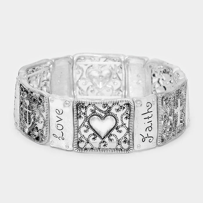 Filigree Faith Hope Love Heart Bracelet