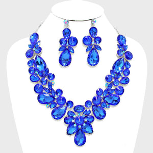 Sapphire Floral Crystal Rhinestone Evening Statement Necklace Set - Bedazzled By Jeanelle