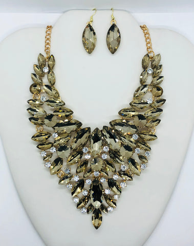 New Gold & Tan Fringed Evening Statement Necklace Set