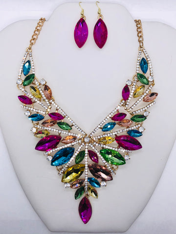 New Multi-Colored Evening Statement Necklace Set