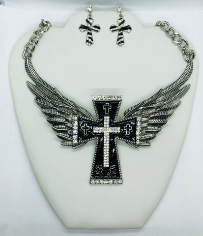 New Silver Cross Filigree Necklace Set