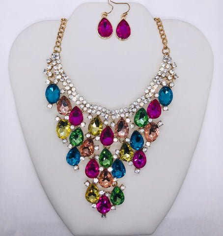 New Multi-Colored Fringed Evening Statement Necklace Set