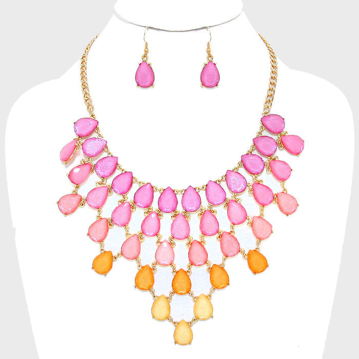 Teardrop Cluster Ombre Necklace Set - Bedazzled By Jeanelle
