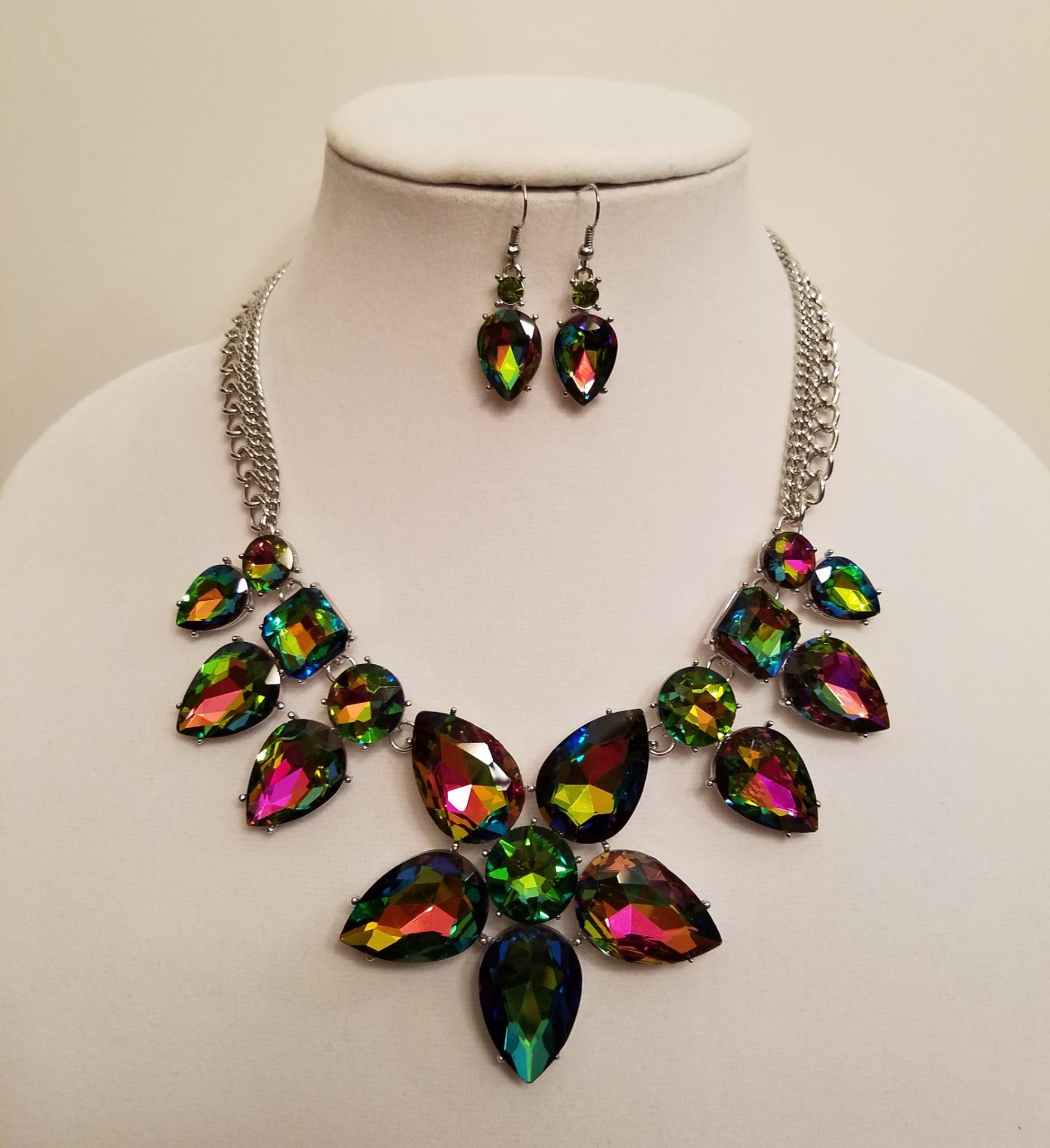Vitrail Green Floral Crystal Statement Necklace Set - Bedazzled By Jeanelle
