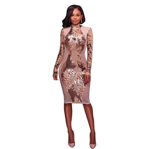 Dayna Sheer Nude Sequinned Bodycon
