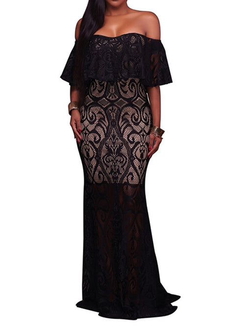Kamila Off-Shoulder Lace-Overlay Maxi