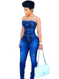 Stacy Strapless Jeans Jumpsuit