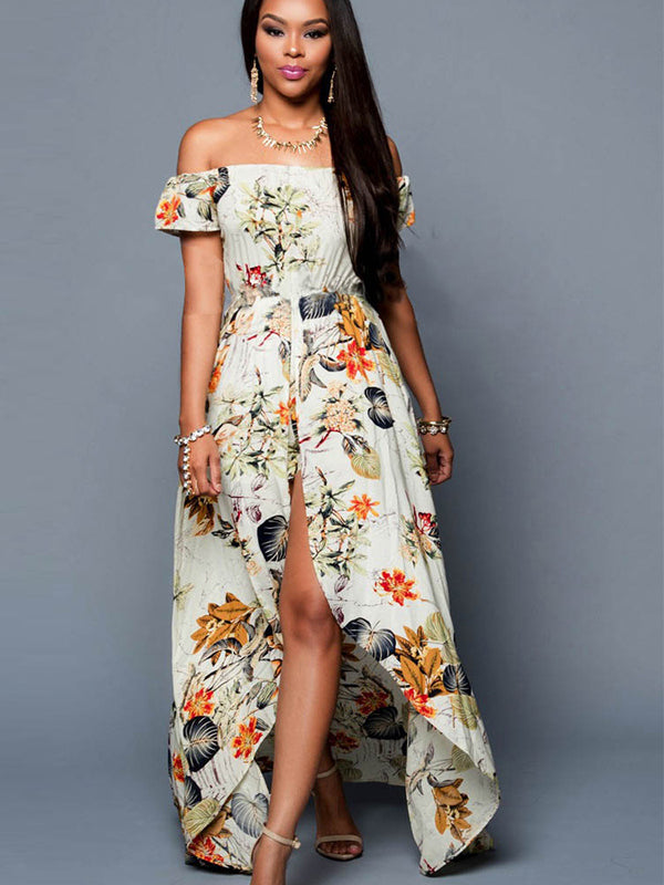 Chiffon Off Shoulder Floral Maxi Romper Dress