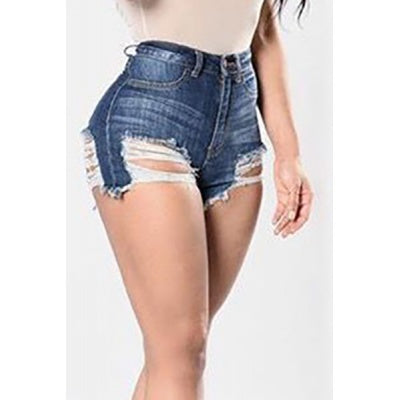 Empire Waist Destroyed Shorts Jeans