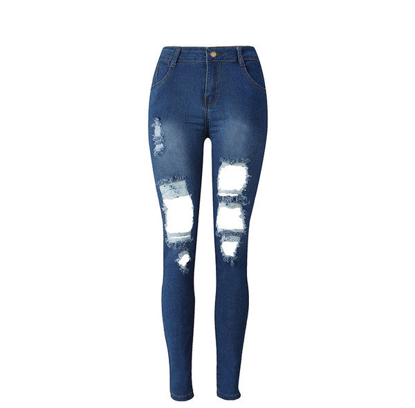 Empire Waist Scuffed Blue Jeans