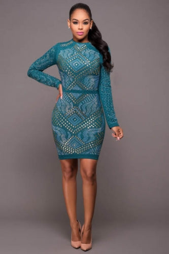 Hunter Green Jewel Quilted Bodycon