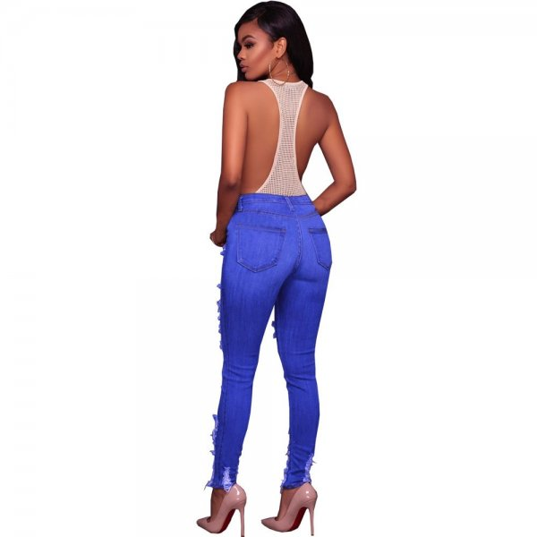 Empire Waist Deep Blued Frayed Jeans