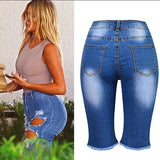 Holed Empire Waist Capri Jeans