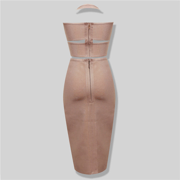 Chocolate Brown Bandage Skirt Suit